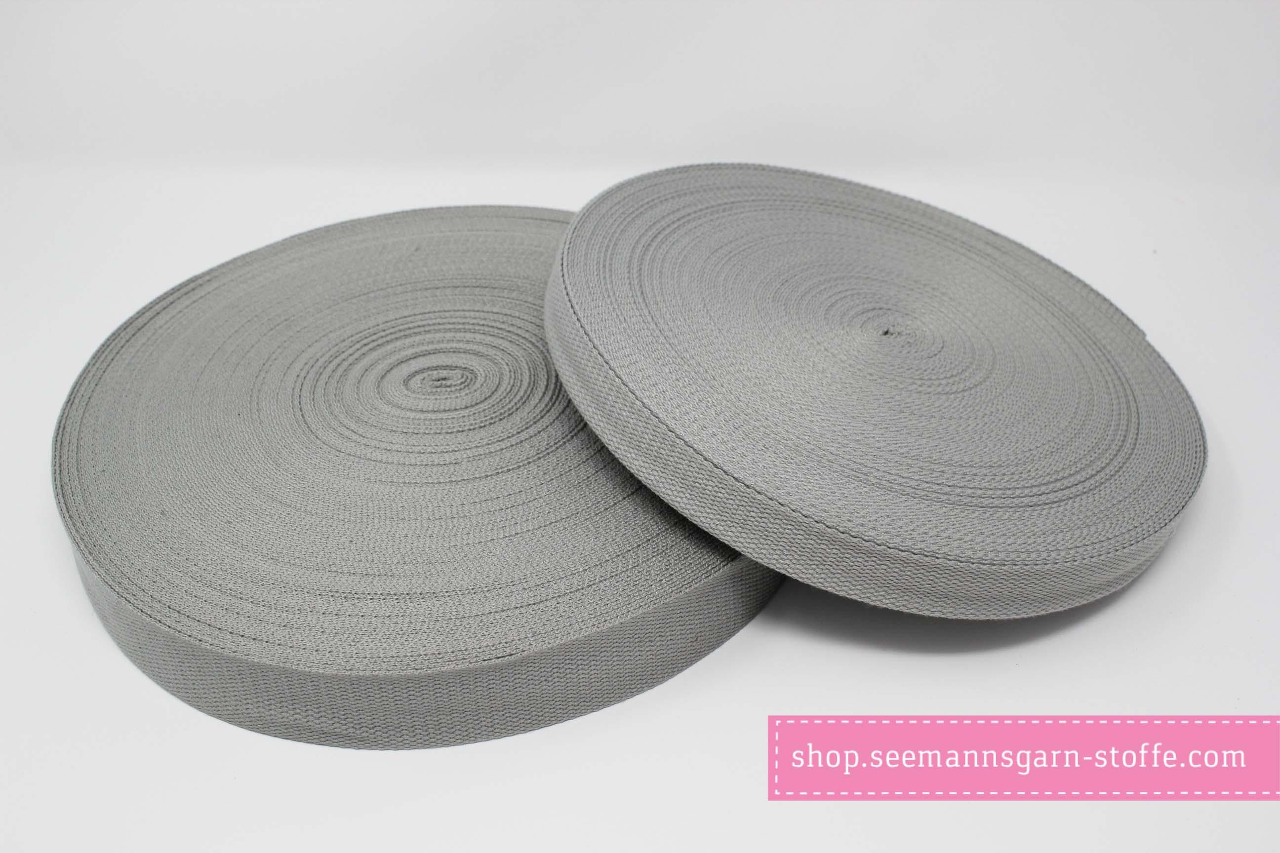 Baumwoll Gurtband hellgrau 38 mm