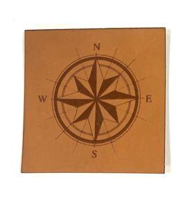 Label aus Kunstleder - Kompass