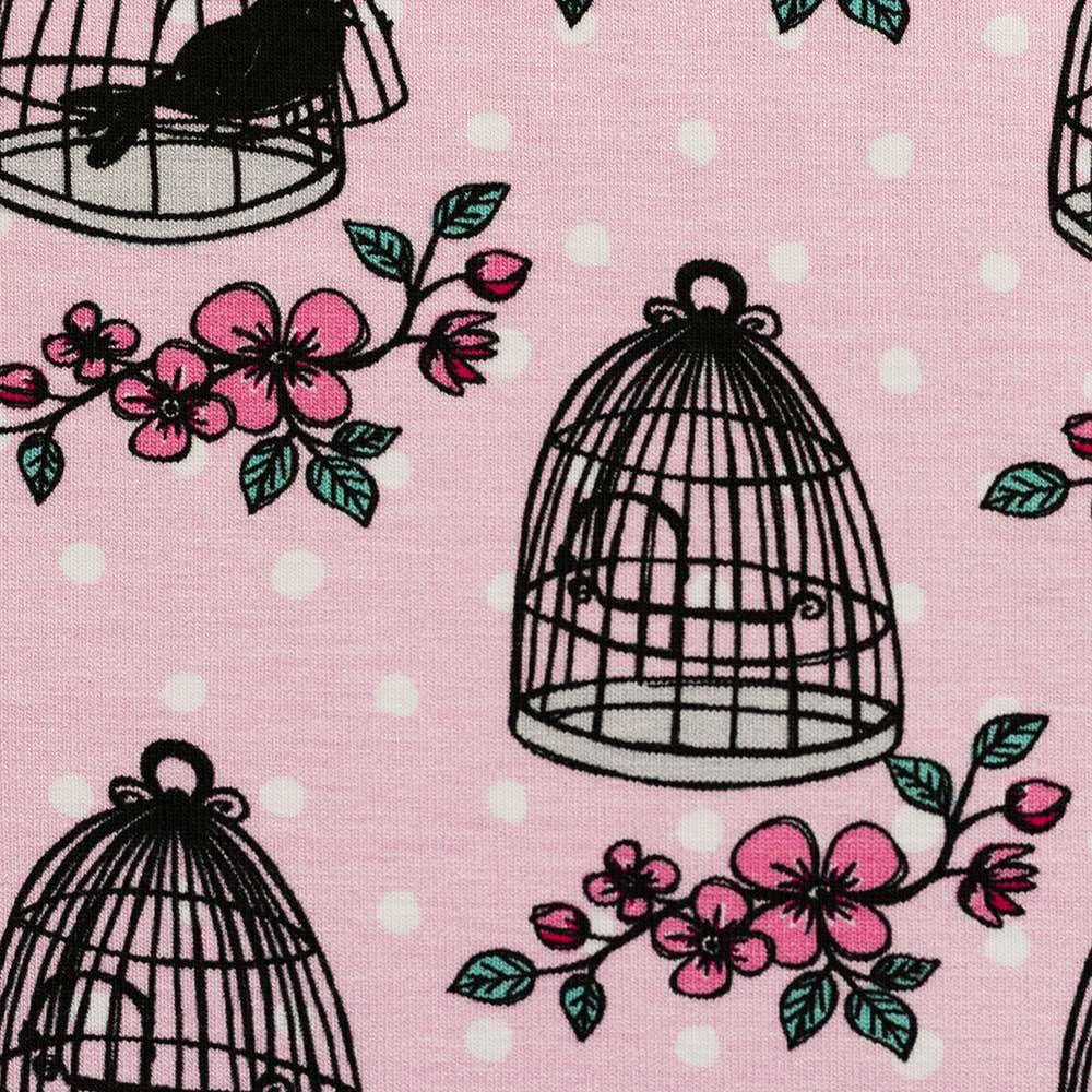 Webware Baumwolle - Valerie Papillon Vogelkäfig by Steinbeck - rosa - Swafing
