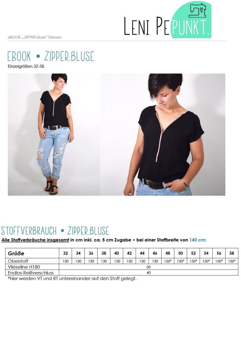 LENI PEPUNKT Zipper Bluse Papierschnittmuster