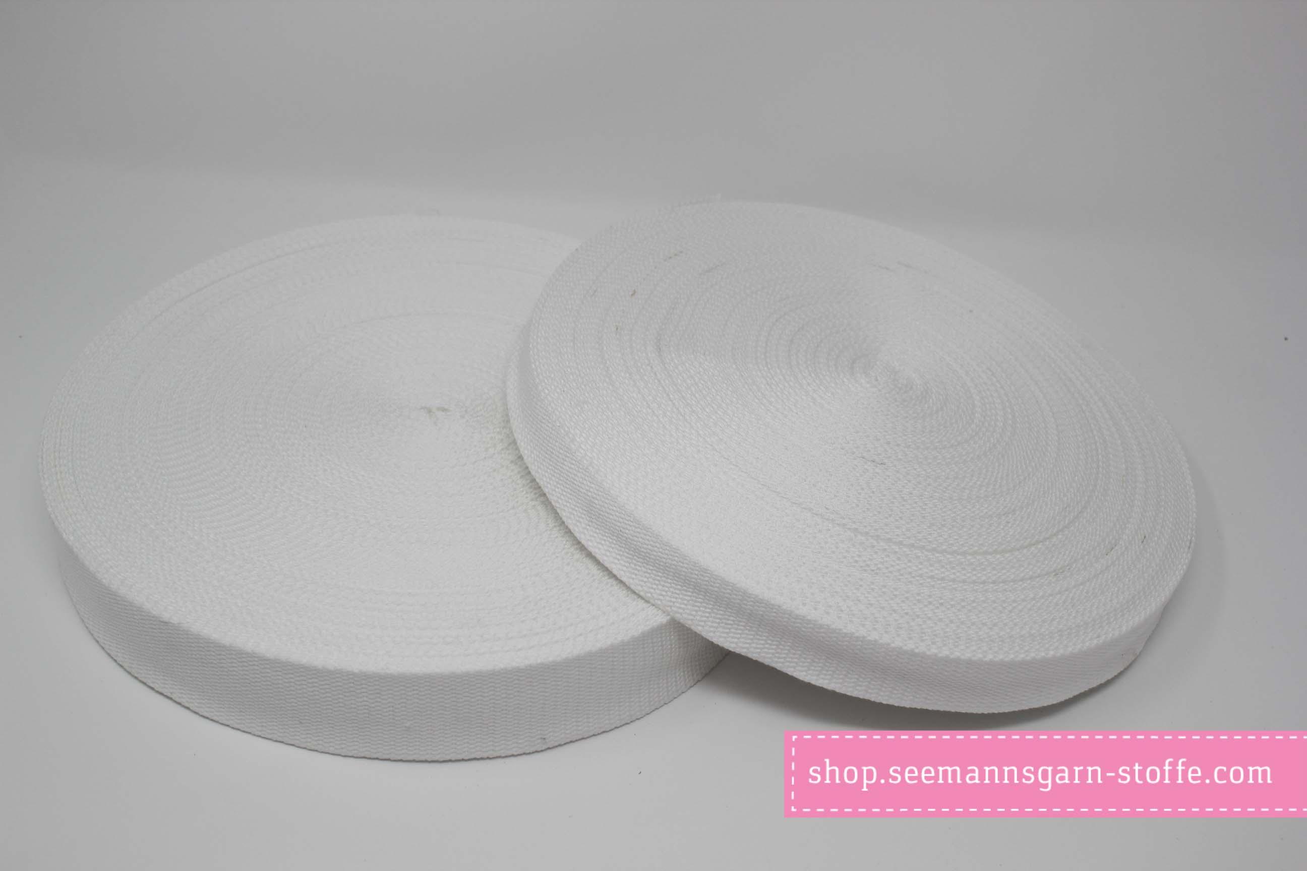 Baumwoll Gurtband weiß 38 mm