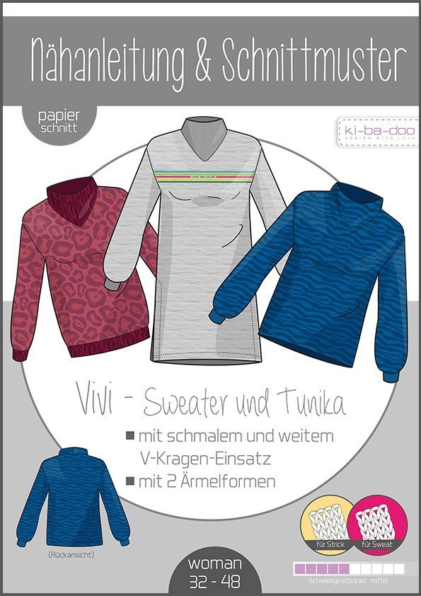 KI-BA-DOO Vivi Sweater Tunika Damen Papierschnittmuster