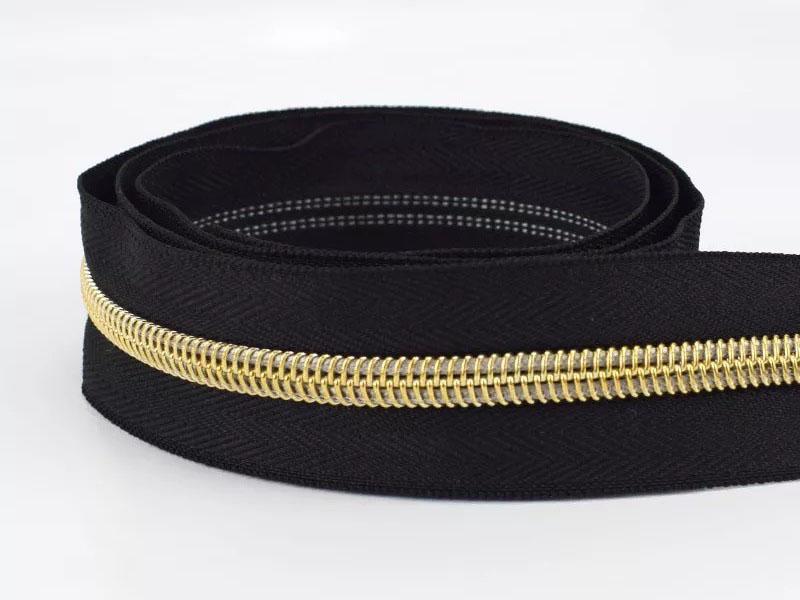 Reißverschluss endlos 1m in schwarz/gold