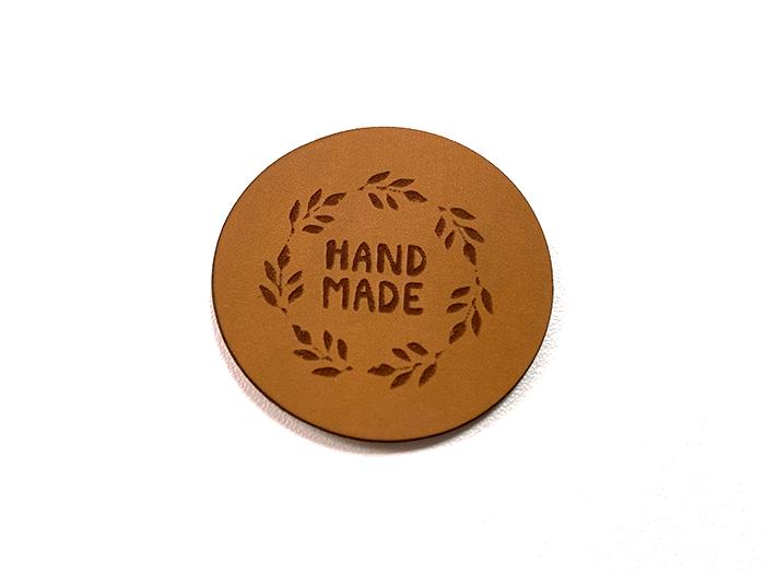 Label aus Kunstleder - Handmade rund