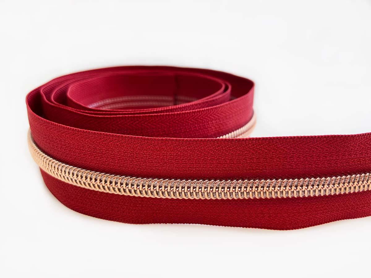 Reißverschluss in rot/rosègold - 1m - endlos