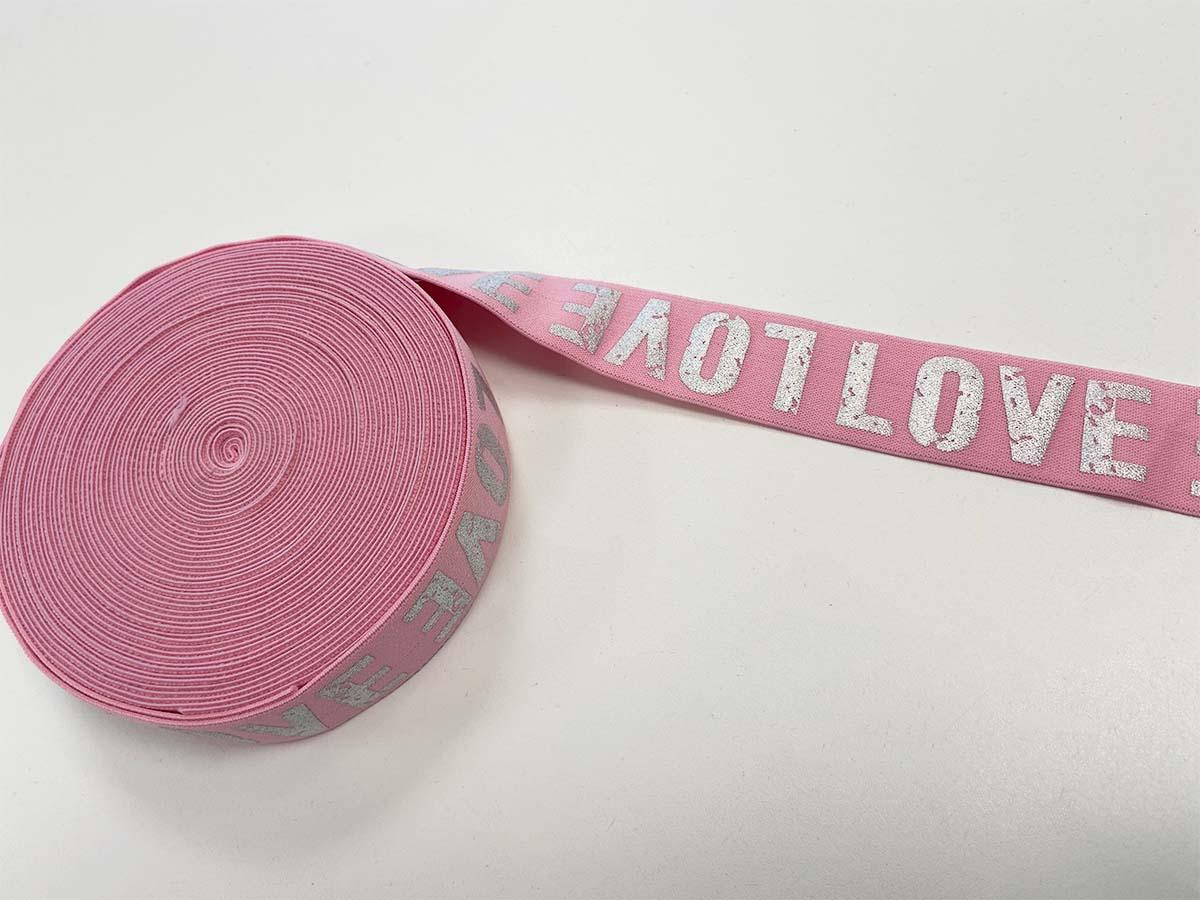 Gummiband LOVE in rosa, 4 cm