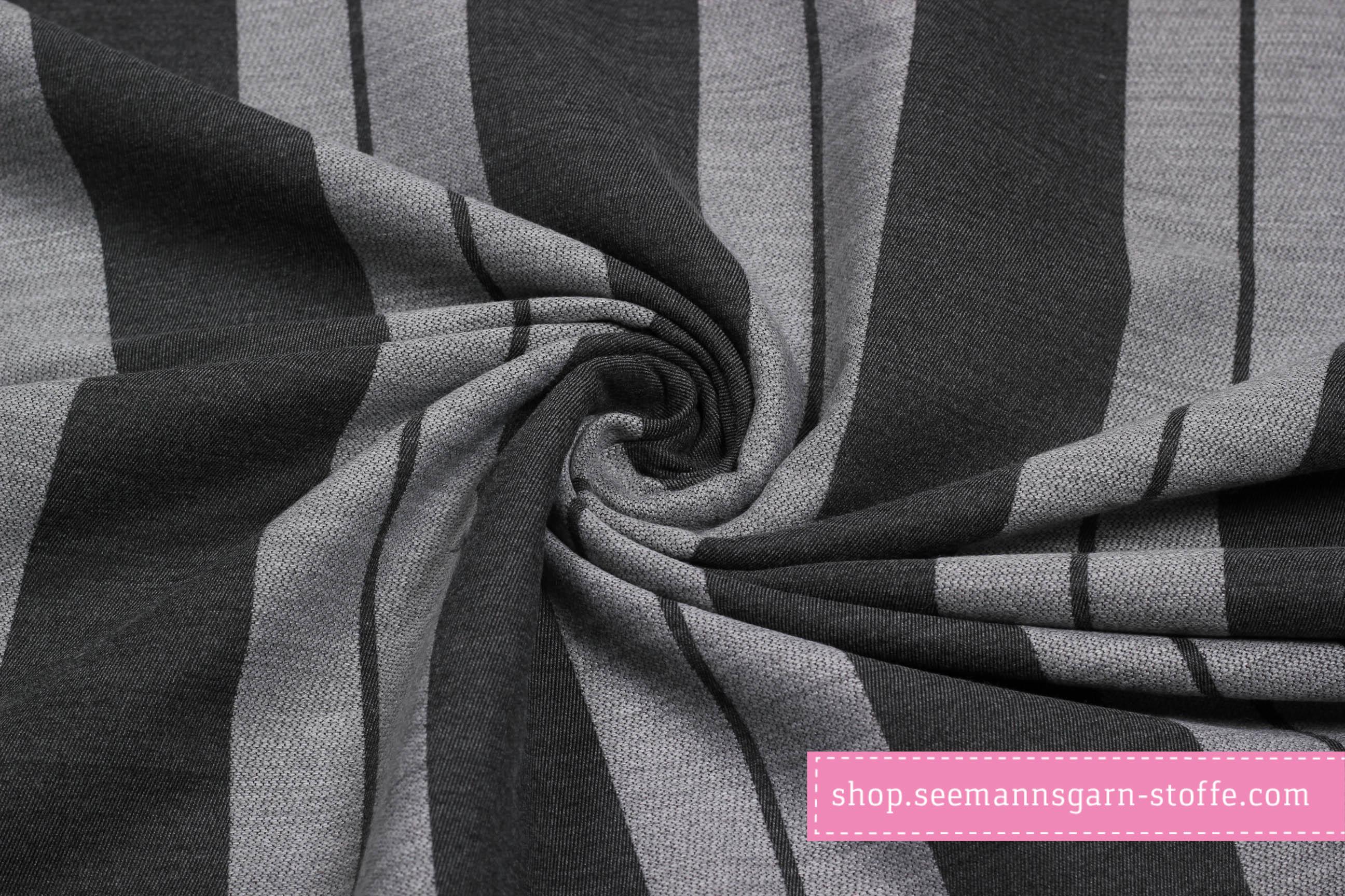 Webware Dekostoff - schwarz / grau gestreift