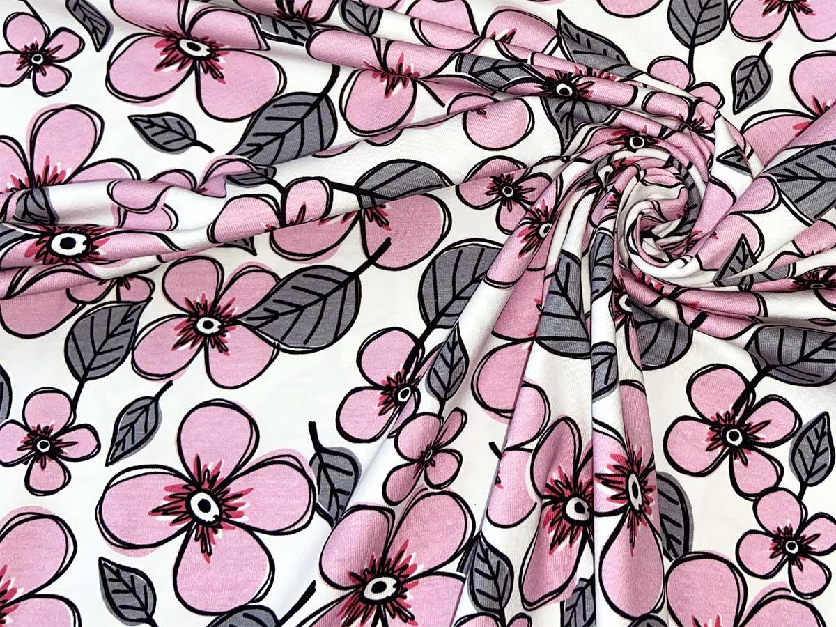 Jersey - Valerie Papillon Blumen by Steinbeck - rosa/weiß - Swafing